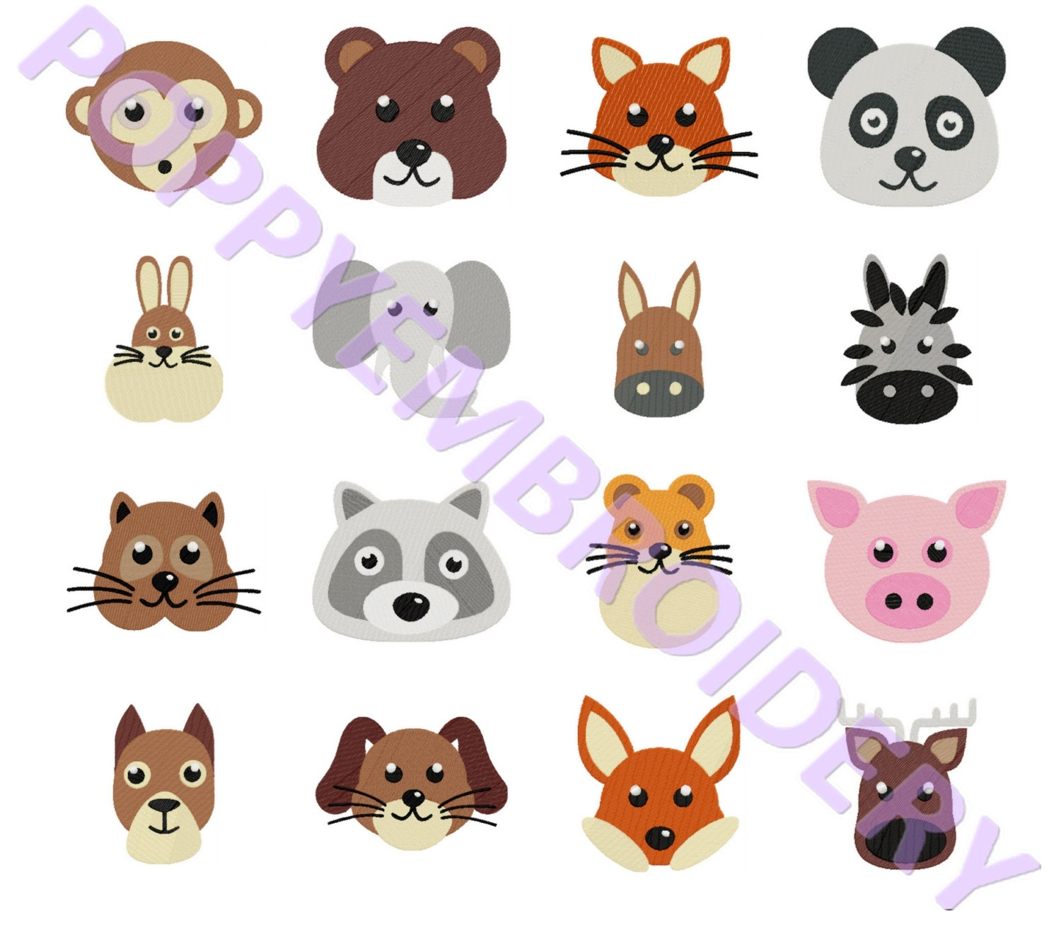 CUTE ANIMALS Design For Embroidery Machine  Animaux