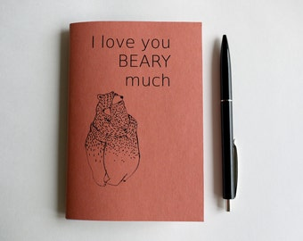 """notebook A6 """"I love you beary much"""""""