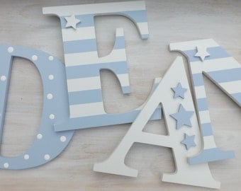 15cm Wall letters:  UPPERCASE wooden hand painted and decorated. name, bedroom, stripes, stars. Other colours available.