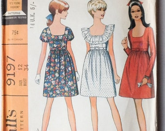 1968 McCall's Dress Pattern, Vintage Sewing Pattern, Mc Call's 9197, Misses and Junior Dress in 3 Versions, Size 12, 00593