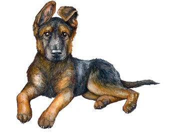 GSD Puppy Greetings Card
