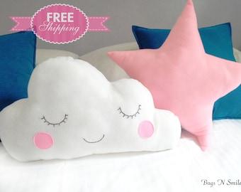 Cloud pillows - Kids Pillows - Infant pillow - Baby Pillow - Star nursery - baby gift - Set of cloud & star pillow - baby Shower gifts