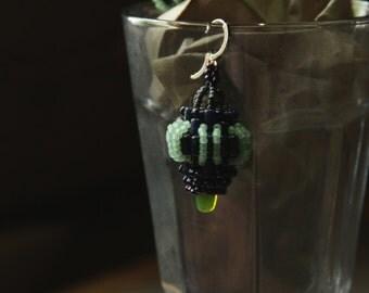 Beaded earrings/ bead weaved blue earrings / seed bead woven earrings with hypoallergenic hooks / lantern earrings / oriental style earrings