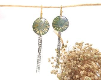 Little green pendants, green sun star earrings, verdigris patina earrings, chain dangle brass earrings
