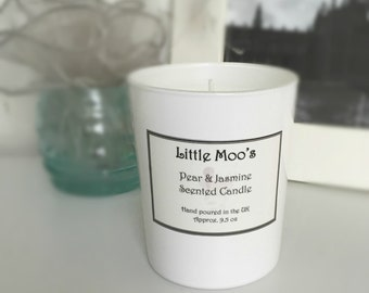 Handmade Pear and Jasmine Scented Candle