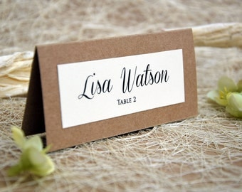 Simple Wedding Place Cards Escort Name