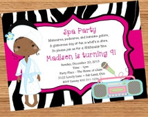 Printable Personalized Spa Party Invitation