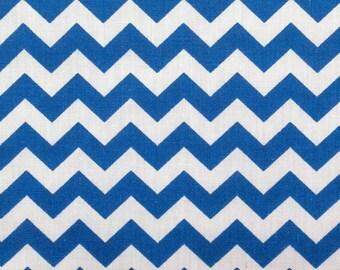 "Royal Blue Chevron Zig Zag Print Poly Cotton Print Fabric - Sold By The Yard -  59"""
