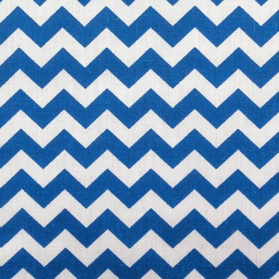 Royal Blue Chevron Zig Zag Print Poly Cotton Print Fabric - Sold ...