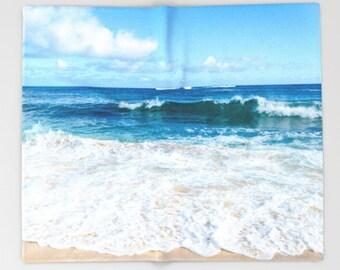 Hawaiian Fleece Blanket surf ocean blanket, throw beach blanket Hawaii blue turquoise sea coastal decor, 30x40, 50x60, 60x80, 88x104 Inches