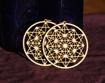 64 Tetrahedron Grid Earrings
