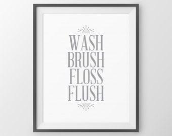 Bathroom Rules Wash Brush Floss Flush Childres's Bathroom Art Bathroom Wall Decor Bathroom Decor Kids Bathroom Sign Bathroom Print