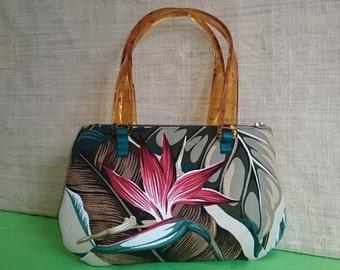 "Womens handbag-Hawaiian print-Bird of Paradise, with Acrylic handles. Made with ""Aloha"" in Hawaii."