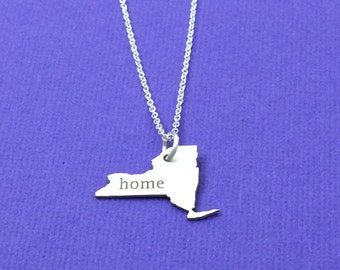 New York State Necklace, Home Collection, State Cutout, Sterling Silver Necklace, Statement, Home Necklace, Holiday Gifts, Mom Gift