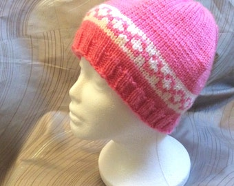 Pink knit hat, adult knit hat,  knit hat with design, knit hat, adult hat, homemade knit hat, pink, hat, stocking hat, knit head covering