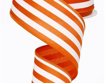 "2.5""X10yd Vertical Stripe On Satin Wired Edge Ribbon ( Orange/White )"