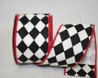 "2.5""x 10 yds Diamond Classic Wired edge Ribbon - Black w/Red Edge / 77254"