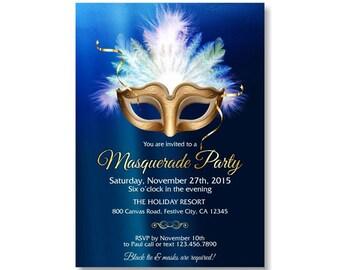 Masquerade Theme Invitations Mardi Gras Mask Invitation Birthday Invitation, Indigo Blue Gold DiY Printable or Printed with FREE SHIPPING 47