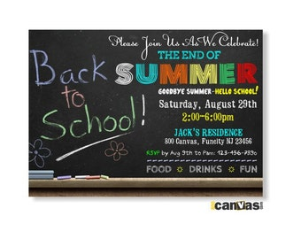 Back to School Chalkboard Party Invitation Printable / End of Summer / End of Summer Party /  Celebration For a New School, Chalkboard 03