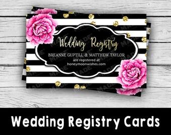 WEDDING Registry Cards - Pink Peonies, Bridal Shower, Engagement, Wedding, Stationery, Gift Registry Cards