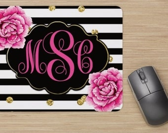 MONOGRAM Mouse Pad - Black Stripe Peonies, Computer, Personalized Decor, Gold Glitter, Office Supplies