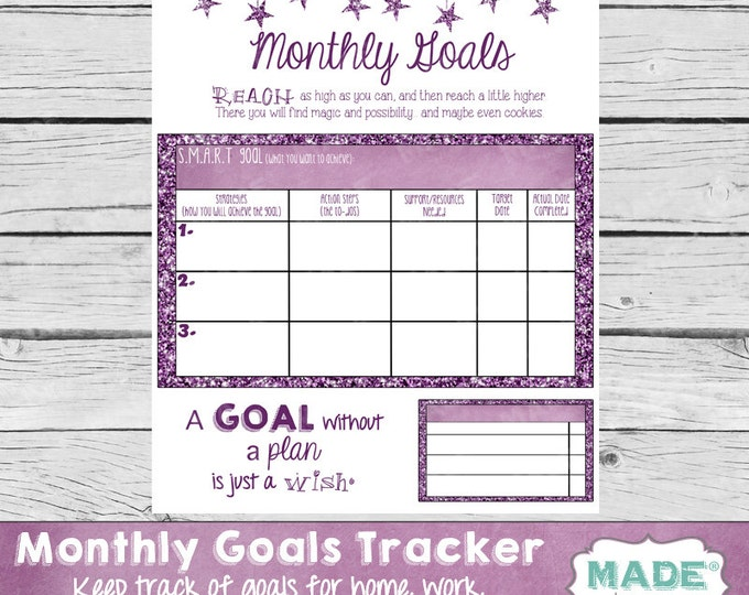 MONTHLY GOALS TRACKER, Planner Page, Life Planner, Business Planner, Workout Planner, Printable Stationery, Goal Digger