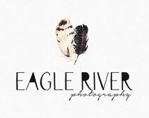 Two Feathers Logo Design , Feather Logo , Watercolor feathers , Tribal logo , bohemian logo ,  Native Style , Boho Style , Watercolour
