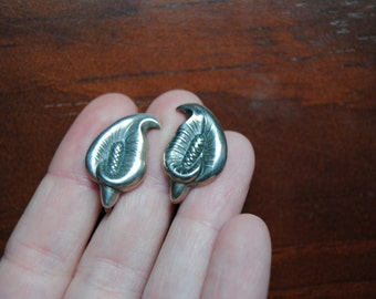 Vintage Calla Lily Sterling Silver Screw Back Earrings Collectible Flowers Vintage Clip Ons
