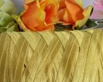 5 yds Golden Fold Over Elastic Ribbon 5/8 inch=15 mm Gold FOE Brass Hair ties bands Headbands Ponytail Lingerie Edging Solid Color Elastic