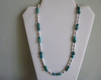 Turquoise Nugget With Silver Native American Style Necklace
