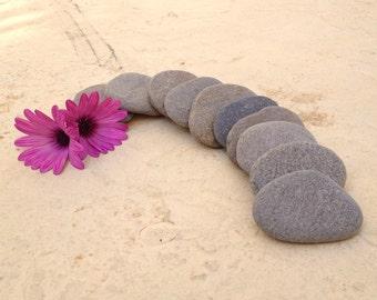 10 Flat Beach Stones, Flat Beach Pebbles, Wedding Stones, Flat Stackable Stone, Guest Book Stones, Large Stacking Stones, Flat Stones