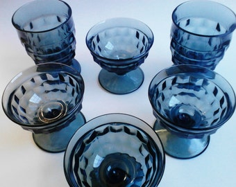 Indiana Glass Whitehall Cubist Dark Teal Blue Smoky Black Set Of 4 Footed Sherbets and 2 Juice Goblets