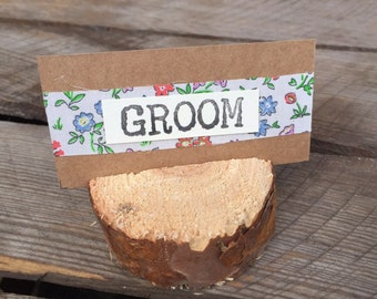 Wooden slice with name place card