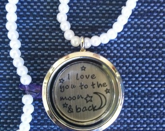 I Love You To The Moon and Back Locket Charm Necklace