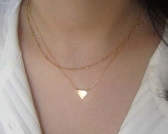 Initial necklace,initial triangle necklace,cute necklace, unique necklace ,gift idea, bridesmaids gift, wedding gift,gold,