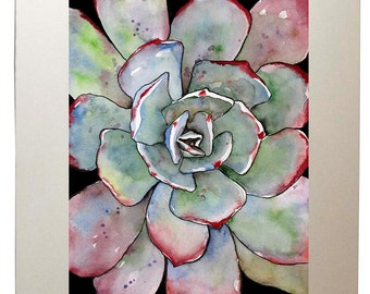 Grey Succulent Prints from Original Agave Watercolor Painting, Matted to 11x14