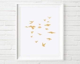 Bird Wall Decor, Flock Of Birds, Gold Birds Print, Bird Gift Idea, Bird Watcher Print, Gold Geometric Birds, Bird Wall Decal, Flying Bird