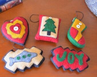 Rustic Felt Ornament Set (Set of 5)