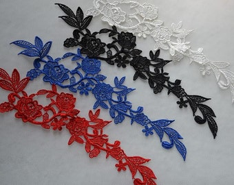 Black Lace Appliques Venice Lace Flower Collars Corsage Costome Decor Lace Patches 1 pair YL370