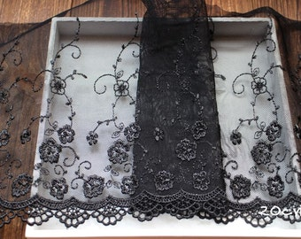2 Yards Lace Trim Floral Embroidered Black meters Tulle Lace 7.87 Inches Wide High Quality YL397