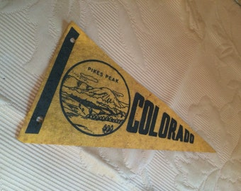 Old Colorado Pennant 1930s 1940s Pikes Peak Rocky Mountains prop display Great Divide Denver The Mile High City Centennial State Southpark