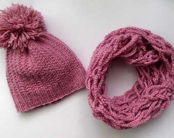 knit hat with a scarf girl, handmade, 4-6 years