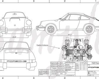 1969 Porsche 911 Engineering Drawing
