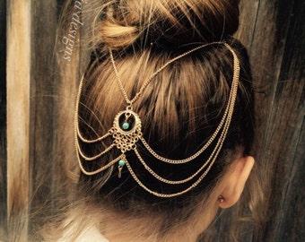 Gypsy Hair Chain Jewelry, Turquoise beaded Head Chain, Hair Chain Accessory, Tribal Head Accessory, Hippie Head Piece.