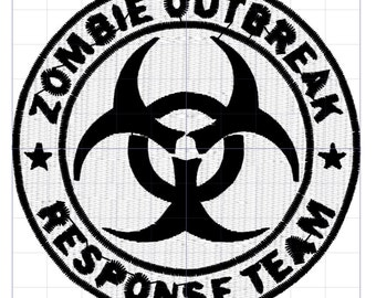 Zombie Outbreak Response Team Symbol Embroidery Design Emblem