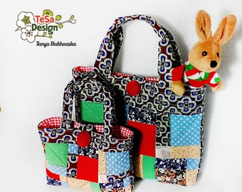 Patchwork Bag, Diaper Bag, Patchwork Diaper Bag, bag for little girls, fashion bags