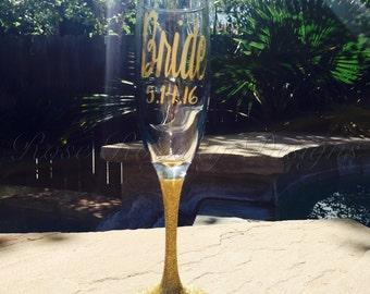 Bride Glitter Stem Champagne Glass with Date