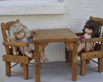 Vintage Hand Made Doll Chairs and Table