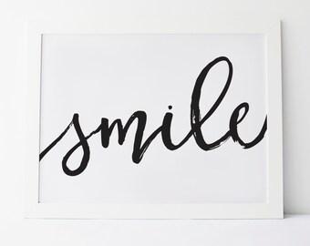 "Printable Art ""Smile"" Cursive Smile Wall Art Wall Prints Calligraphy Print Calligraphy Art Smile Print Smile Art Gallery Wall Art Wall Decor"