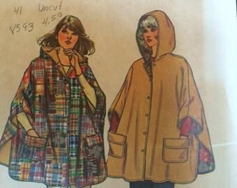 Vintage Misses' Jiffy Reversible Hooded Poncho